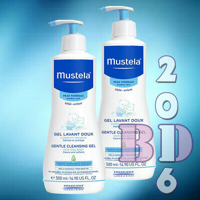 2 x Gentle Cleansing Gel Mustela Baby Skin Hair Body Cleanser Hypoallerg. 500ml