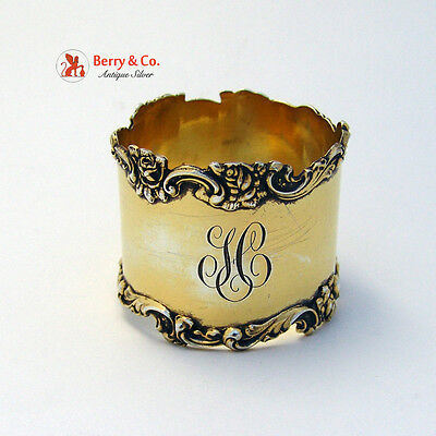 Rose and Scroll Napkin Ring Sterling Silver Gilt Shreve and Co 1910