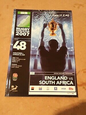 Rugby World Cup 2007 FINAL - South Africa v England Programme 20/10/2007