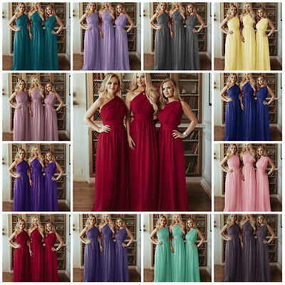c623acd6eeed 1 Shoulder Chiffon Bridesmaid Wedding Dresses Gown Prom Evenin Maxi Plussize