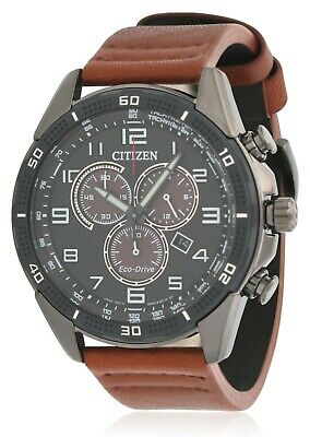 *BRAND NEW* Citizen Eco-Drive Men's LTR Brown Leather Strap Watch AT2447-01E