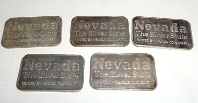 5 Nevada The Silver State Prospector Art Bar 1 Troy Ounce .999 Silver Coin Mart!