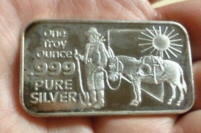 Nevada The Silver State Prospector Art Bar 1 Troy Ounce .999 Silver Coin Mart!