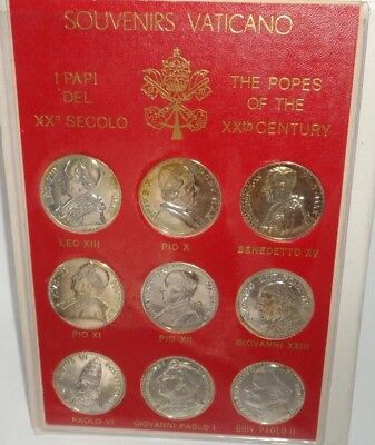 9 Vatican Medals Coins Souvenirs Vaticano The Popes of the 20th Century & Folio