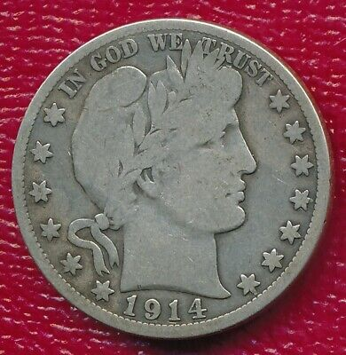 1914-S Barber Silver Half Dollar **nice Circulated Very Good Coin** Free Ship!!