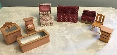 Vintage homemade dollhouse furniture lot Bed Bathroom Living room Mixed Lot