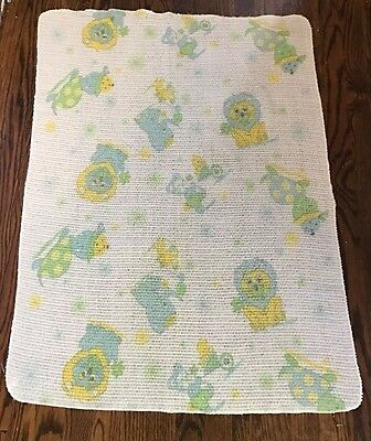 Vtg Pastel Circus Theme Baby Blanket Cotton Thermal Open Waffle Weave Woven