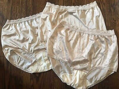 3 SZ 6 Vtg Cotillion Lace Panty Brief High Waist Cotton Liner Nylon Granny Beige