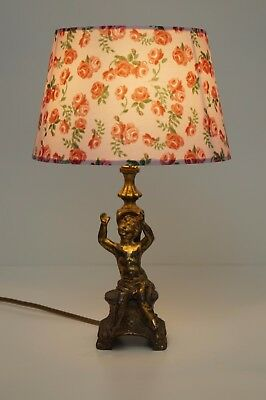 "Romatische Shabby Chic Tischlampe ""GOLDEN ANGEL"" Putto Engel Messinglampe 1920"