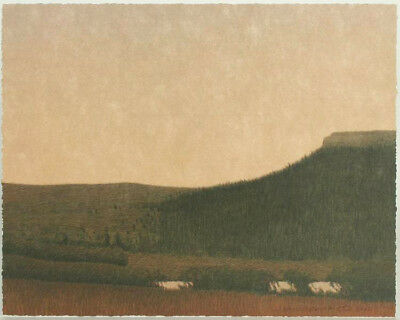 """Russell Chatham Original lithograph """"Larkspur Butte in Sprint"""" S/N, 2001"""