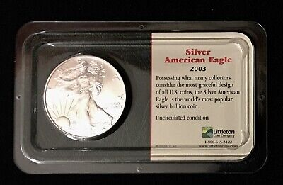 2003 Silver American Eagle $1 Bullion Coin Uncirculated in Littleton Showpak