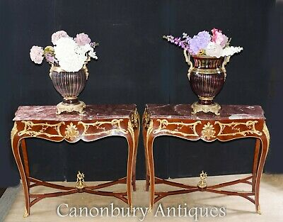 Pair Empire Console Tables - French Ormolu Hall Table