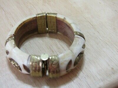 Antique/Vintage Bracelet Brass Wood And Ivory Colored Lovely, Very Nice
