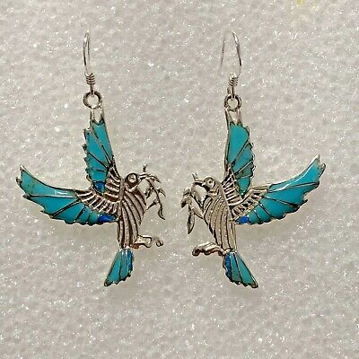 Sterling Silver Inlay Multi-Stone Flying Hummingbird Opal Turquoise Earrings