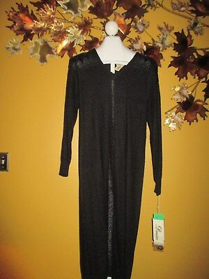 15c6cab0c2 Vtg NWT Darian Black Sequined Sweater Knit Maxi Dress Evening M Medium