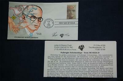 Fulbright Scholarships 32c Stamp FDC Handpainted by Pugh 2/28/96 Sc#3065