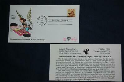 1996 Love Angel 32c Stamp FDC Handpainted by Pugh Issued 1/20/96 Sc#3030