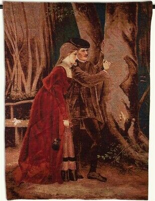 Victorian Trading Co Young Renaissance Lovers Carving Initials Hanging Tapestry