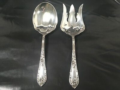"VTG ""Romaine"" by Reed & Barton Sterling Silver Salad Serving Set 9 1/4"" Lovely!"