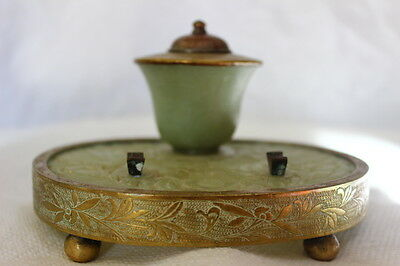 Chinese Carved Hardstone Celadon Serpentine Pen Stand & Inkwell JADE BRONZE BRAS