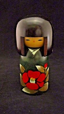 Wooden Kokeshi Doll Kimono Red Flower Green Body Traditional Made in Japan