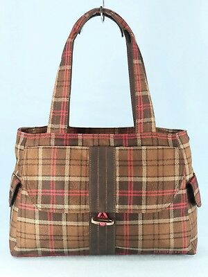 Merrell Brown Plaid Canvas Shoulder Tote Bag Satchel Travel Purse Ltwt Large EXC