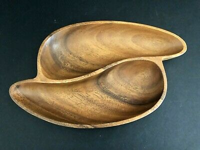 "Vintage Genuine Hand Crafted Monkey Pod Wooden Divided Bowl 11"" x 7.5"""