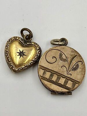 ANTQ VICTORIAN ROLLED GOLD FILL 2 LOCKETS FOB CHARMS SIGNED SKM Co ART & CRAFTS