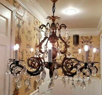 Antique Bronze French Cage Crystal Chandelier 8L Pineapple Beautiful Vintage