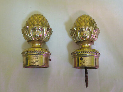 Set of 2 Solid Brass Pine Cone Acorn Pineapple Curtain Finials Large 5'' Antique