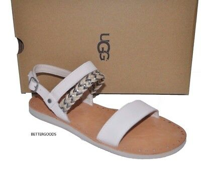 82891f191b1 UGG AUSTRALIA WOMEN ELIN FLAT SANDALS Leather/Canvas Ankle Strap ...