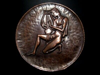 Outstanding Vintage Copper Wall Plaque-Orpheus Playing Lyre!!!