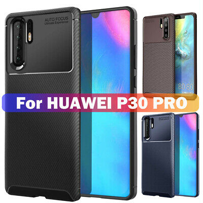 Luxury Carbon Fiber Bumper Silicone Back Case Cover For Huawei P20 P30 Pro/Lite