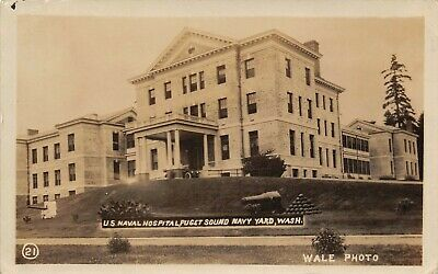 U.S Naval Station Hospital Puget Sound Navy Yard Sand Point,WA Vtg RPPC Postcard