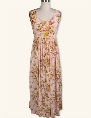 Victorian Trading Co April Cornell Pink Floral May Day Maxi Dress XL