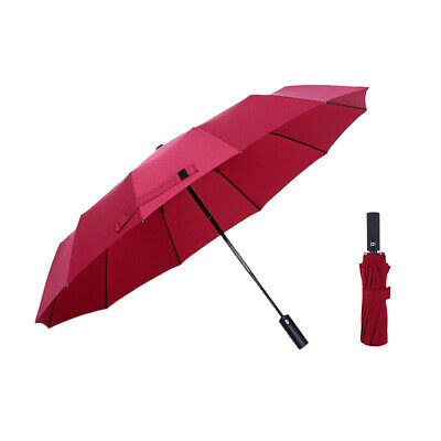 12 Ribs Windproof Travel Umbrella with Tefloning Canopy Auto Open/Close Durable