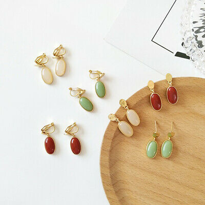 1 Pair Oval Gem Drop Dangle Earrings Alloy Ear Studs Clip on Women Fashion