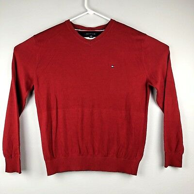 TOMMY HILFIGER Mens V-Neck Pullover Soft Cotton Sweater Sz L Red Holiday - EUC