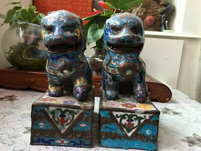 9 Chinese Folk Old Classical Copper Cloisonne Enamel Foo Fu Dog Lion Statue Pair