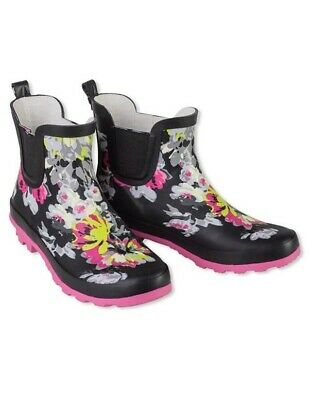 Victorian Trading Co. Black & Pink Floral Wellies Ankle Rain Boots 8