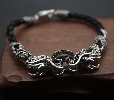 bf95897225a29 New Pure S999 Sterling Silver Double Dragon Head Leather Knitted Bangle  Bracelet