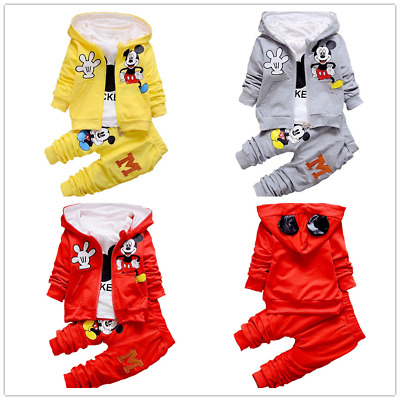 3pcs Kids Baby Boys Girls Mickey Mouse Hooded Coat+Tops+Pants Cartoon Cotton Set