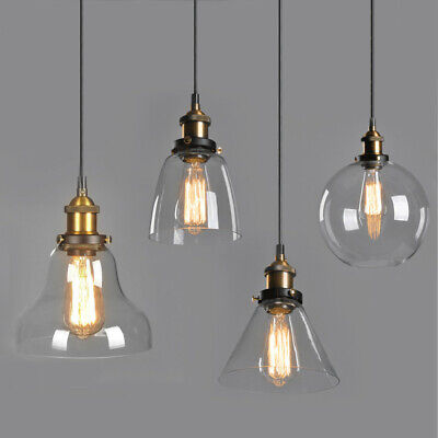 HOT Modern Vintage Industrial Retro Loft Glass Ceiling Lamp Shade Pendant Light