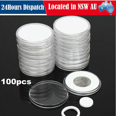 100x Coin Display Case Clear Round Plastic Storage Capsules Collection Holder