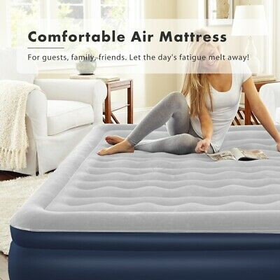 Double High Raised Air Bed Mattress Airbed Inflatable + Built In Electric Pump