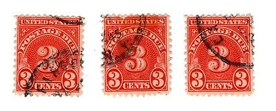Lot of Three U.S. 3 Cent Postage Due Stamps.