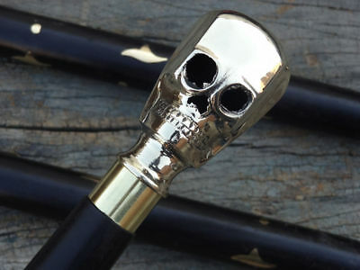Solid Brass Skull Head Handle Vintage Style Antique Walking Cane Wooden Stick