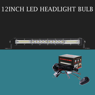 "Slim 12"" inch Front Grille Led Light Bar Spot Flood Beam With Wiring Harness kit"