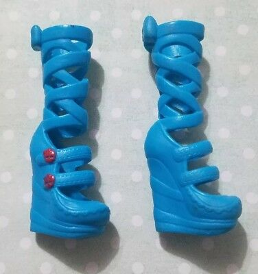 Monster High Doll Shoes Freaky Fusion Ghoulia Yelps Blue Boots Draculaura Bow