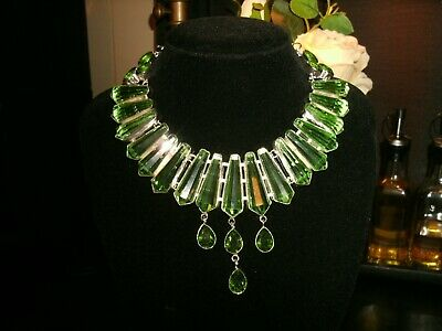 necklace peridot arrow Silver plated Cleopatra cluster bib adjustable